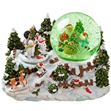 WeRChristmas Santa and Snowman Snowing Scene with Snow Globe Christmas Decoration, 22 cm - Multi-Colour