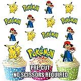 prédécoupés Pokémon Pikachu et cendres-comestible pour cupcakes/gâteau...