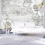 murando - Fototapete Blumen Lilien 400x280 cm - Vlies Tapete - Moderne Wanddeko - Design Tapete - Wandtapete - Wand Dekoration - Holz Blume Ornament b-A-0170-a-b