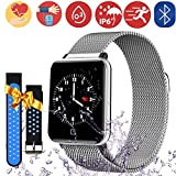 Bluetooth Smartwatch Fitness Uhr Intelligente Armbanduhr Fitness Tracker Smart Watch Sport Uhr mit Kamera Schrittzähler Schlaftracker Romte Capture Kompatibel mit Android Smartphone (M19-Silver)