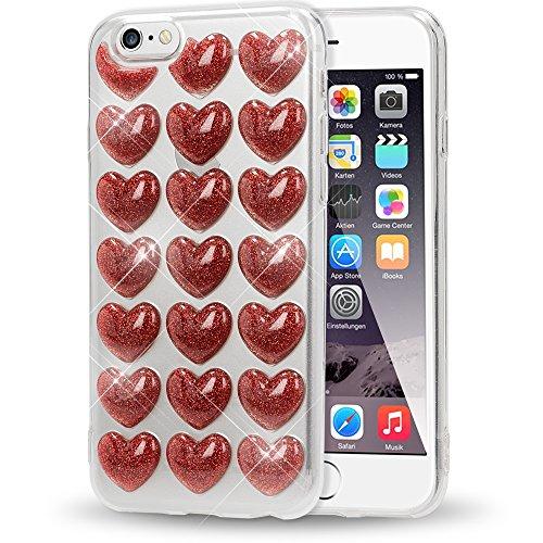 NALIA 3D Herz Hülle kompatibel mit iPhone 6 / 6S, Silikon Glitzer Handyhülle Case Schutzhülle Gummi, Soft Ultra-Slim Cover Etui Dünne Handy-Tasche, Backcover Skin Bumper, Farbe:Rot