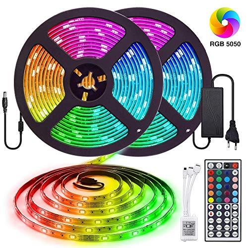 Tiras LED 10m 5050 RGB, Tiras de Luces LED Iluminación con 300 Leds 12V SMD, Impermeable IP65, Adaptador de Alimentación 3A, Control Remoto de 24 Claves, Receptor (10m RGB)