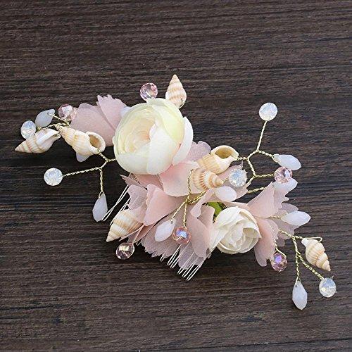 Haixng Bridal Shell Haare kämmen, Rosa Blümchen Kopfschmuck Kleid Bankett Kopfschmuck - Kleid-haar-kämme