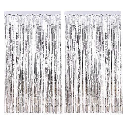 Topkey 2 Stück Folien-Vorhänge Lametta Metallic Fransen Vorhänge für Geburtstag Party Foto Hintergrund Hochzeit Weihnachten Dekoration – jede Größe 1 m x 2 m silber