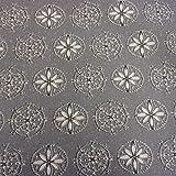 Stoff Meterware wasserdicht Eisblume grau weiß Ornament