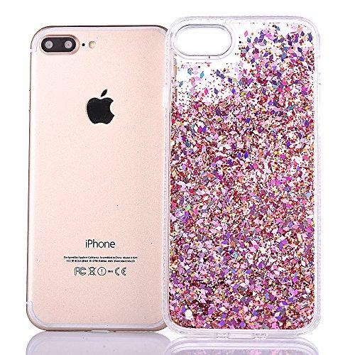 """iPhone 7Plus Hülle, iPhone 7Plus Handytasche, CLTPY 3D Dynamisch Treibsand Flüssige Fließend Glitzer Sparkle Diamant Hartplastik & Soft TPU Hybrid Transparent Schale Case für 5.5"""" Apple iPhone 7Plus ( Rosa"""