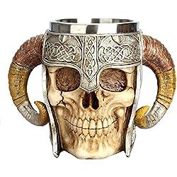 AOLVO Taza de Acero Inoxidable Medieval, Ram Horned Pirata Vikingo Gótico Cráneo Esqueleto Medieval Copa Taza Jarra, Tankard Stein para Cerveza Vino Café Ron Agua Potable - 450 ML (15 Onzas)