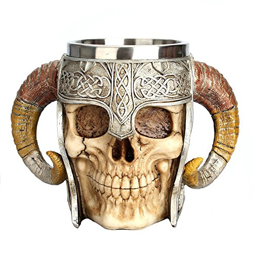 AOLVO Medieval Stainless Steel Cup, Ram Horned Pirate Viking Gothic Skull Medieval Skeleton Cup Cup Jug, Tankard Stein for Beer Wine Coffee Rum Drinking Water - 450 ML (15 Ounces)
