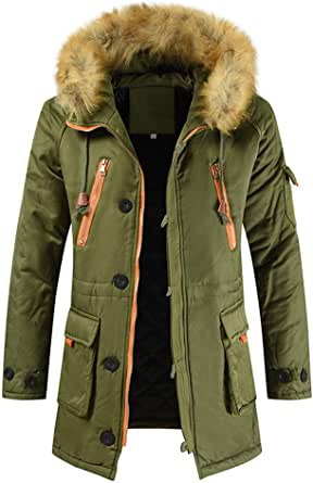 Yczx Men's Parka Winter Warm Fleece Overcoat with Faux Fur Hood Mens Quilted Padded Hooded Jacket Thicken Outwear Modern Fashion Zipper Jackets Outdoor Camping Hiking Skiing Fishing Outfits
