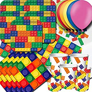 Block Party Pack For 16 - Plates, Cups, Napkins, Balloons and Tablecovers