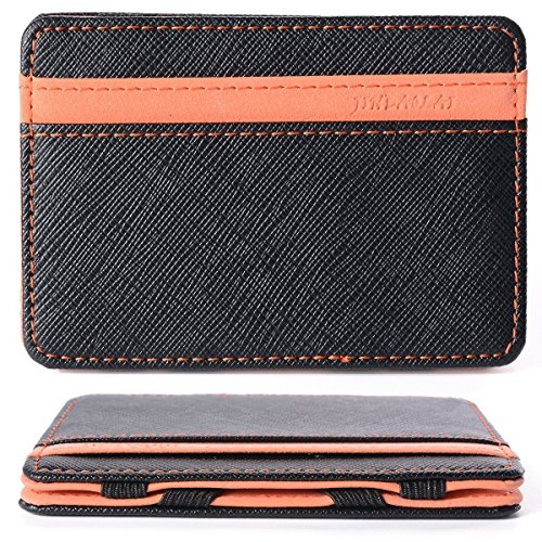 WER Herren Magnetic Money Clip Card Case, Magie Credit ID Card Geld Wallet (Orange) (Case Clip Id-money Card)