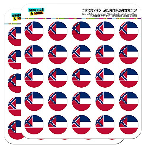 Mississippi State Flag 1 Scrapbooking Crafting Stickers by Graphics and More (Mississippi State Flag)
