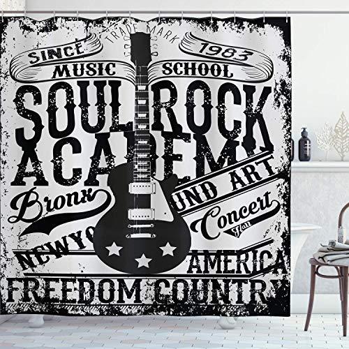 vrupi Cortina Ducha Retro Soul Rock Academy Theme Music School Guitarra eléctrica Cartel Gratis 71x71 Pulgadas Lavado Tela Impermeable Que...