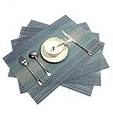 Pauwer Platzsets 6er Set Gewebt Vinyl Platzsets Rutschfest Abgrifffeste Tischsets Hitzebeständig Platzdeckchen Waschbare Tischmatte Leicht zu Reinigen