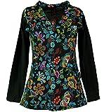 Guru-Shop Besticktes Langarmshirt mit V-Neck Flower Power Hippie Chic, Damen, Schwarz/bunt, Baumwolle, Size:S (36), Pullover, Longsleeves & Sweatshirts Alternative Bekleidung
