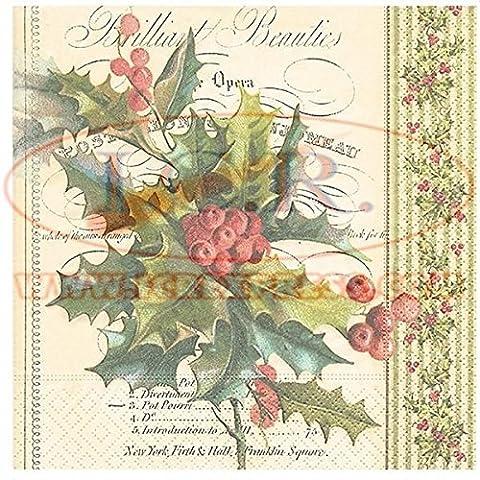 Lunch Servietten Serviette 33 x 33 cm (Christmas holly) Stechpalme