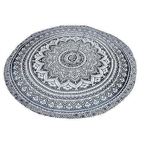 Grau Ombre Strandtuch Indische Wurf Mandala Runde Roundie Hippie Boho Zigeuner Chiffon Dorm Tapisserie Picknick Pad Tischdecke Wand Hängende Sofa Abdeckung