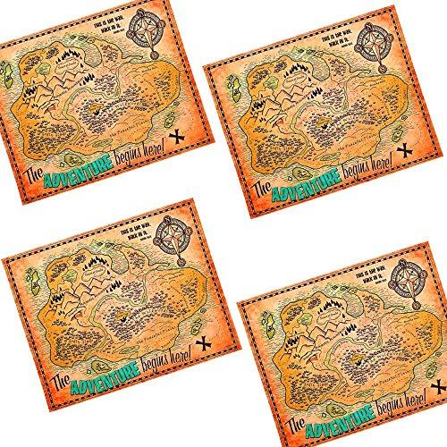 German-Trendseller ® 4 carte au trésor ┃ pour enfants ┃pirate