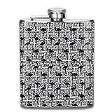 Fiaschette Presock, Black Flamingo On Geometric Stainless Steel Flask Wearproof 7 OZ Flat Liquor Flask Whiskey Best Gift for Men Him Husband
