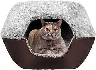 UMALL Gepolstert Katzenhöhlen Katzenbett In Und Outdoor Katzenkorb zum Schlafen Leicht und tragbar Kuschelhöhle Kuschelige Betten für Katzen Warm in Winter