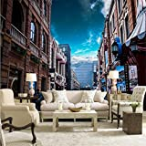 Guyuell Carta Da Parati Per Pareti 3 D Bella Urban Streetscape 3D Carta Da Parati Balcone Camera Da Letto Sfondo Decorativo Murales-250Cmx175Cm