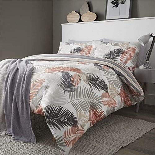 Palme Blätter Streifen orange Baumwollmischung wendbar einzeln (uni silbergrau passendes Leintuch - 91 x 191cm + 25) 3 Stück Bettwäsche Set (Orange Und Taupe Bettwäsche)
