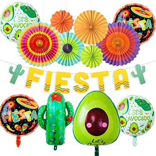 Dekorationen Pack Cinco De Mayo Dekorationen hängen Papier Fans Banner Kaktus und Avocado Luftballons für mexikanische Party Supplies ()