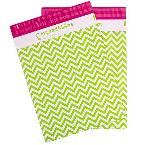 von, Versandtaschen inspiriert-verschiedenen Prints-PREMIUM Unwattierte Versand Umschläge-100Stück 10x13 - Pack of 100 Lime Green Chevron ()