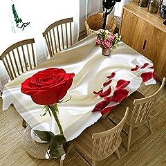 Idea Regalo - HUANZI Tovaglia 3D Rose Rosse e Petali Che Cadono Stampa Digitale Antipolvere Dinner Copertura Superiore da Tavolo Rettangolare, Rectangle 80cm*130cm