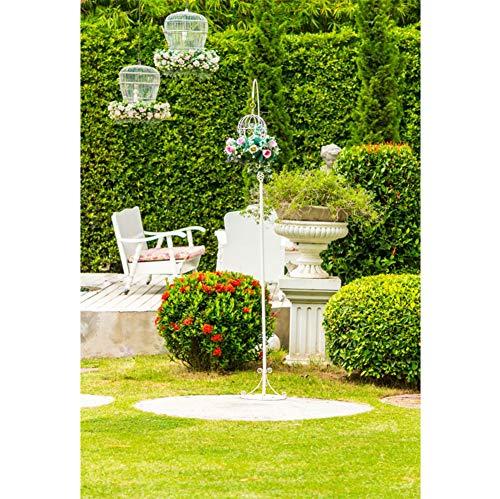 YongFoto 1,5x2,2m Vinyl Foto Hintergrund Valentinstag Garten Weißes Tischset Blumentopf Amor Statue Fotografie Hintergrund für Photo Booth Party Banner Fotostudio Requisiten