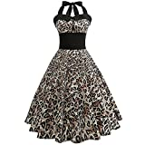 VEMOW Elegante Damen Damen Vintage Bodycon Sleeveless Halter beiläufige Tanzabend Party Prom Brautjungfern Swing Dress Faltenrock Cocktailkleid(X3-c-Gelb, EU-38/CN-M)