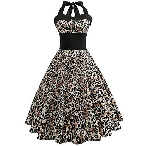 Damen Ärmellos Kleid Rockabilly Bodycon Damen Elegant Leoparden Drucken Kleider Neckholder...