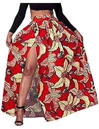 Y-BOA Jupe Femme Maxi Fente Imprimé Fleur Taille Élastique Plissé
