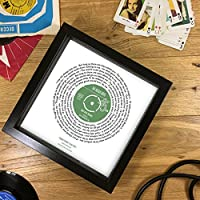 Personalised Vinyl Record Song Lyrics Print - Ideal Gift For Him - Fully Framed 7 or 12 Inch Single Design