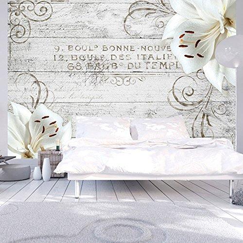 *murando – Fototapete Blumen Lilien 350×256 cm – Vlies Tapete – Moderne Wanddeko – Design Tapete – Wandtapete – Wand Dekoration – Holz Blume Ornament b-A-0170-a-b*