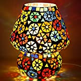 EarthenMetal Handcrafted Dome Shaped Multicoloured Flower Design Glass Table Lamp (Small 16 Cm)