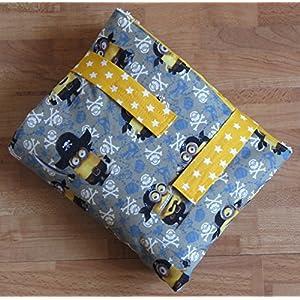 Wickel-mobil- Minions - Piraten -mit Frottee-Liegefläche graublau/gelb