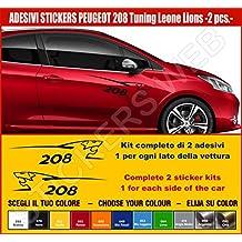 Kit adesivi stickers PEUGEOT 208 Leone Lion 2 adesivi tuning auto -SCEGLI SUBITO COLORE- car pegatina Cod.0492 (Nero cod. 070)