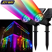 JOYWAY-Blue Carbon Solar Spotlights Outdoor 7 Led Waterproof Spot Lights 7 Multi-Colour Solar Garden Lights for The Patio Ya