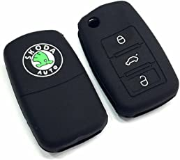 Brand Bites Silicone Car Key Cover fit for Skoda Octavia / Laura / Superb / Yeti / Fabia / Rapid (For 3 Button Flip Key)