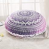 "GANESHAM HANDICRAFT - 32"" Pink Mandala Tapestry Hippie Home Decor, Boho Seating Pouf Ottoman, Mandala Cushion Cover Decorative Bohemian Throw Pillow, Boho Indian Mandala Floor Pillow"
