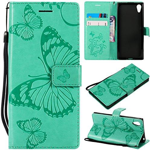 WolinTek Sony Xperia XA1/Z6 Kunstleder Tasche im Bookstyle, Ledertasche Handyhülle Etui Flip Wallet Case Klapphülle mit Kartenfach und Ständer Lederhülle Hülle für Sony Xperia XA1/Z6,Grün