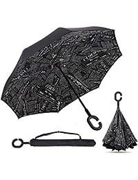 Qiucdz Paraguas invertido, paraguas de doble capa de caña, la ventana manos libres, las manos en forma de C, ideal para coche y viajes, evitan goteo, prueba de Uv y corte