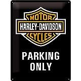 Harley Davidson Parking Only Grand Panneau En Métal 400mm x 300mm (na)
