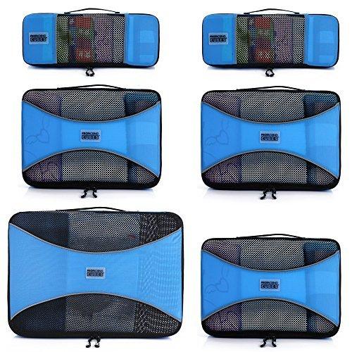 Pro Verpackung Cubes   6Stück Travel Cube Value Set   30% Space Saver Taschen und Gepäck oranisers   Ultra Leicht   ideal für Seesack, Carry On Gepäck, und Rucksäcke Blau himmelblau