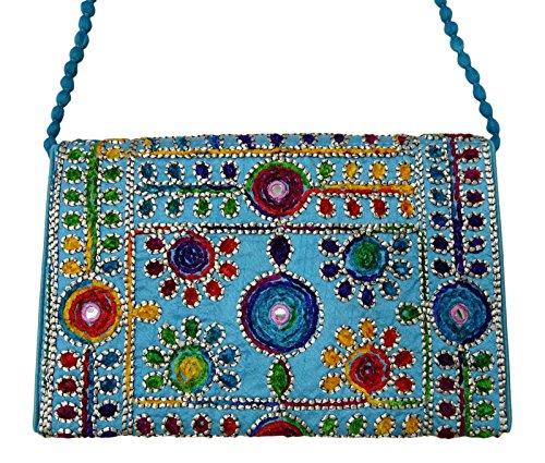 Borse A Tracolla Etniche Tradizionali Indiane Suzani Ricamate Donne Festa Indossano Borse Etniche Blu