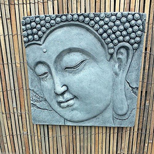 Steinfigur Buddha Kopf Relief Wandbild Steinguss Frostfrei Gartenfigur