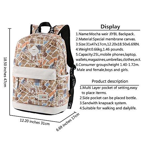 Mocha weir JIAYBL Laptop Taschen Schultern Kinder Schultaschen Rucksack Hochschule Mädchen Canvas Pack reisen (Gelb Kleiner Pfeffer) Beige