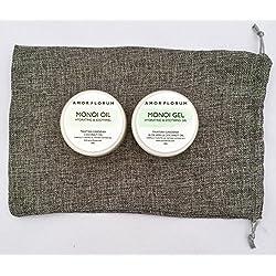 MONOI Öl mit KOKOSÖL & TAHITIAN GARDENIA - 100g - von AMOR FLORUM - Ein natürliches feuchtigkeitsspendendes und beruhigendes Feder-Leichtöl, das Ihre Haut parfümiert, weich und mit Feuchtigkeit versorgt. Kokosöl mit Tahiti-Gardenie. BEDINGUNGEN, FEUCHTIGKEITEN und NÄHREN Haut und Haare. Frischt, hydratisiert und erweicht trockene Haut. Stärkt brüchige Nägel und Nagelhaut.
