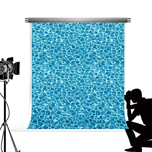 intergrund 5x7ft / 1.5x2.2m Abstrakte Wasser Kräuselungs Hintergrund Geometrisches Muster Sommer Swimming Pool Microfaser Photo Booth Hintergrund ()